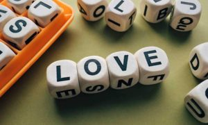 dice spelling out love
