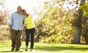 caring communication older couple walking